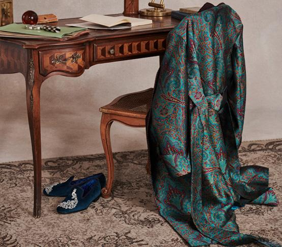 Turquoise Crystal Paisley Lined Silk Dressing Gown
