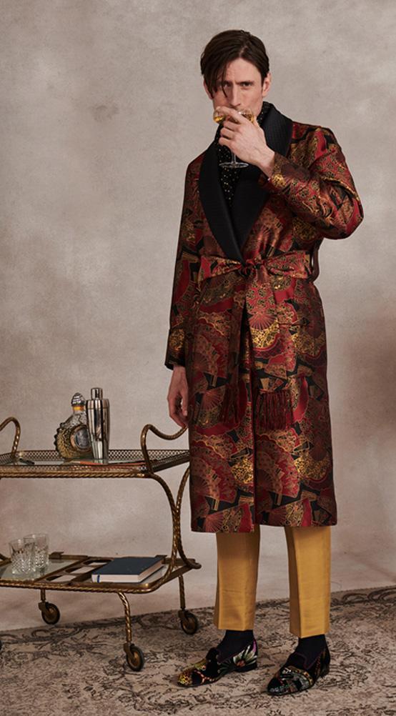 Burgundy Gold Fan Lined Silk Dressing Gown