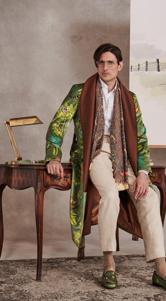 Green Tropical Fauna Lined Velvet Dressing Gown