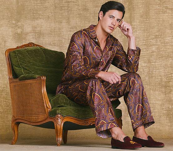 Burgundy Entwined Paisley Cotton/Silk Pyjama Set