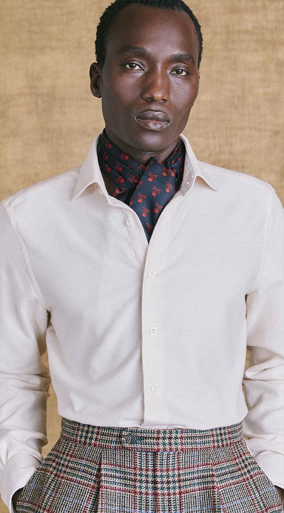 Cream Soft Collar Classic Fit Flannel Shirt