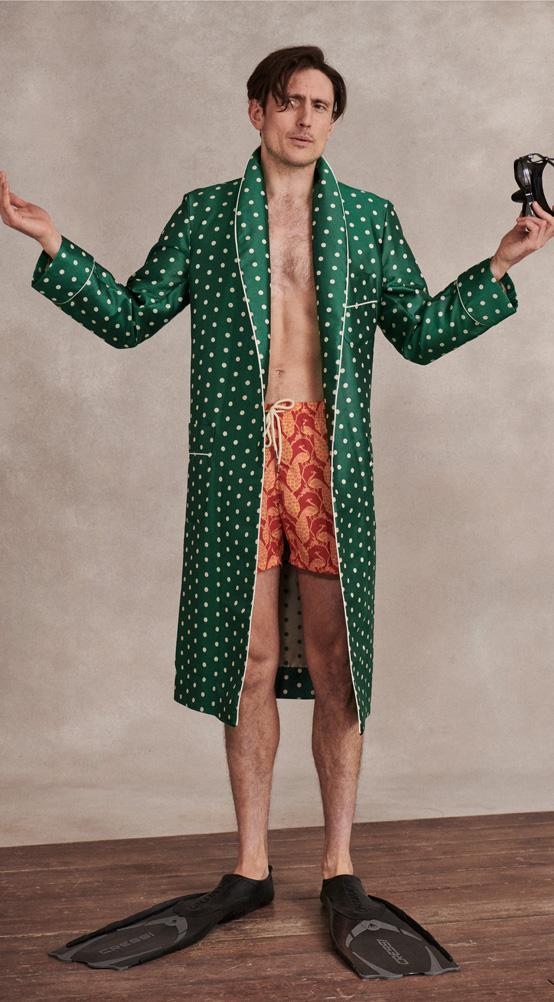 Teal Twill Polka Dot Unlined Silk Dressing Gown