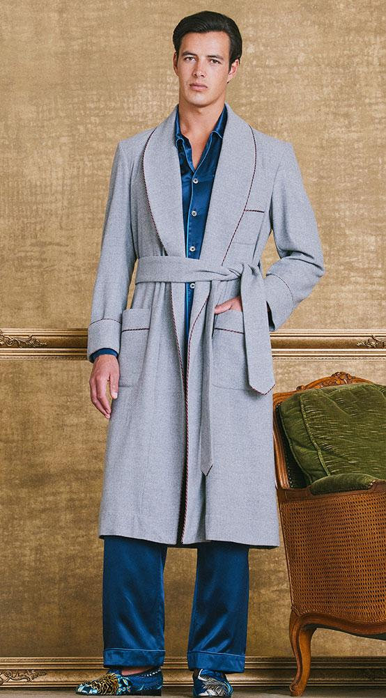 Grey Balmoral Unlined Fine Wool Dressing Gown