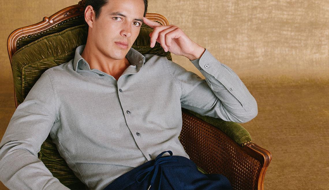 Light Green Soft Collar Tailored Fit Flannel Shirt