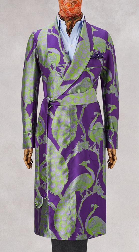 Purple Peacock Unlined Silk Dressing Gown