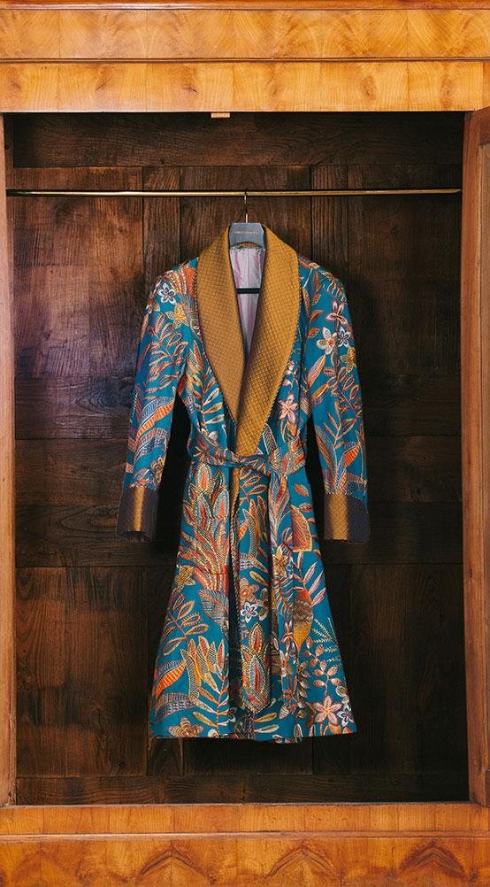 Teal Embroidered Leaves Lined Dressing Gown