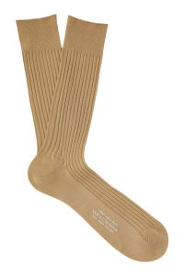 Mid Calf Mercerised Cotton Ribbed Sock - Light Khaki