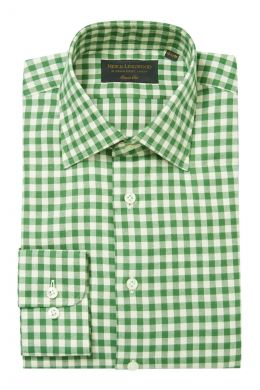 Green Gingham Soft Collar Classic Fit Flannel Shirt