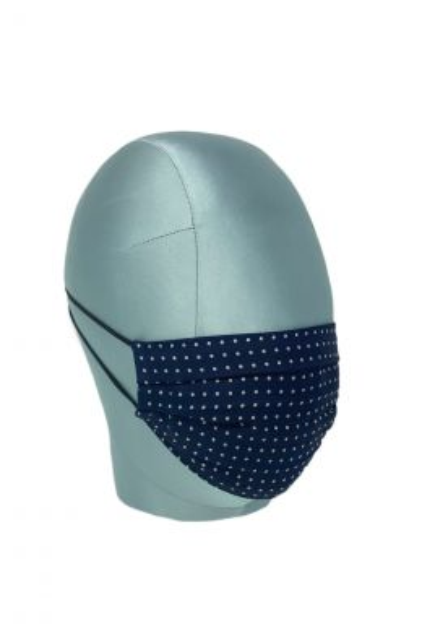 Navy  & White Spot Silk Face Mask
