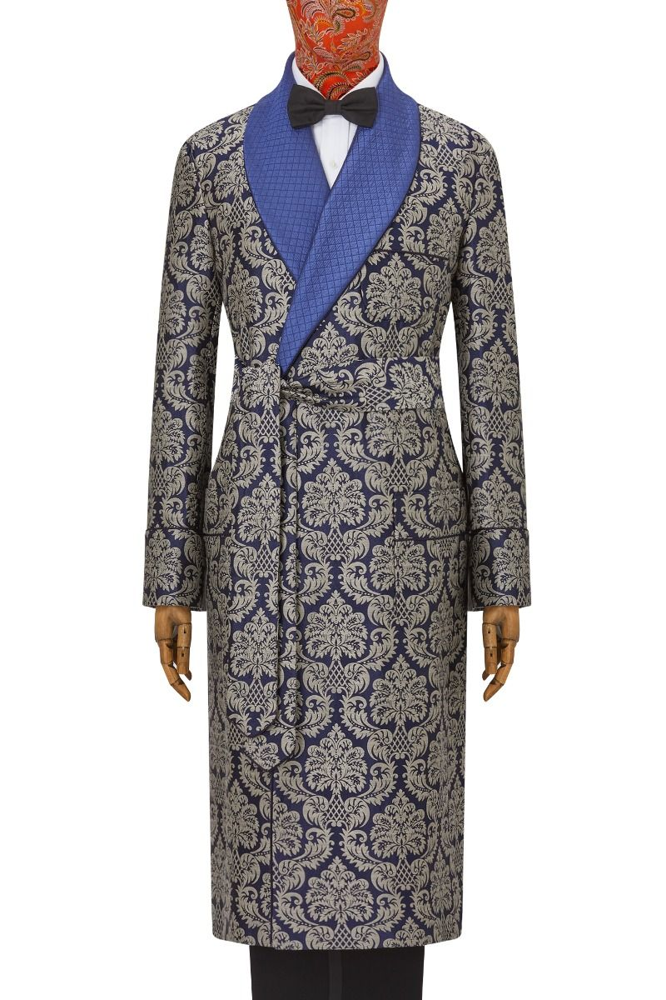 Navy Cream Renaissance Lined Silk Jacquard Dressing Gown