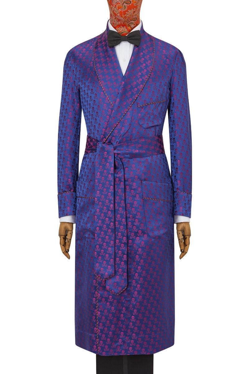 Navy Magenta Pirate King Unlined Silk Dressing Gown