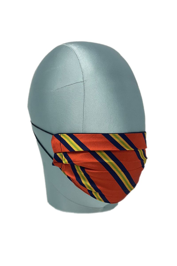 Orange Diagonal Stripe Silk Face Mask